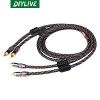 DIYLIVE Hi-Fi monster febbre grado rame puro doppio RCA doppio segnale lotus cavo audio cavo amplificatore di potenza nero e beige