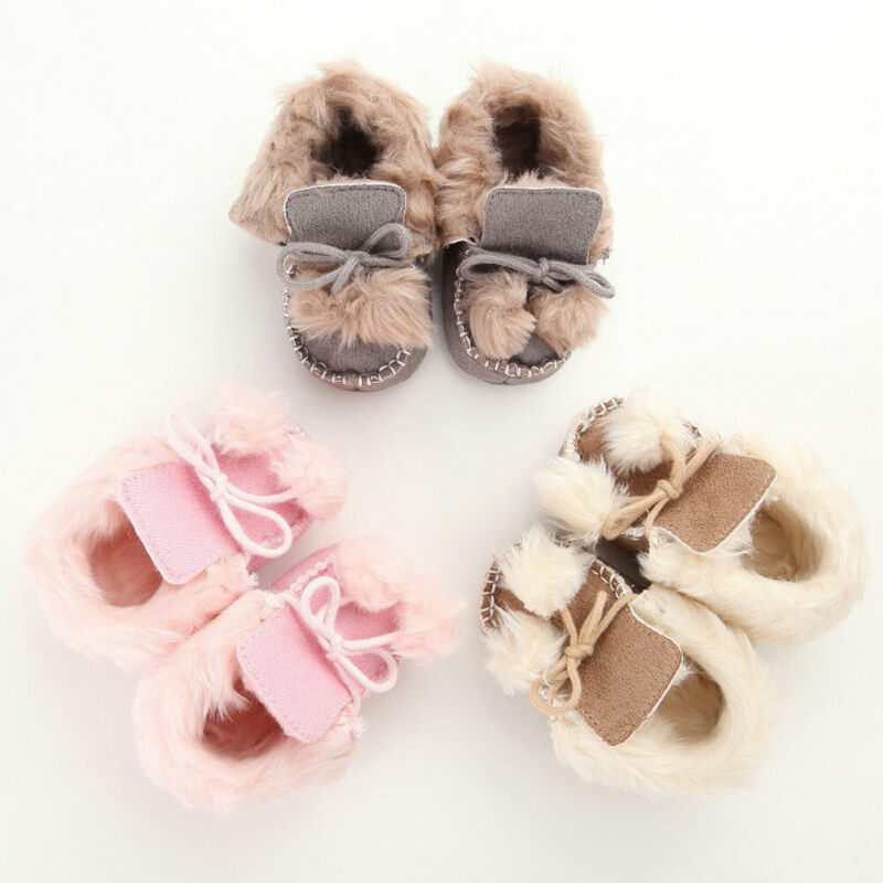 Cute Baby Girls Boys Snow Boots Shoes Little Baby Plush Winter Warm Booties Infant Toddler Crib First Walkers Shoes