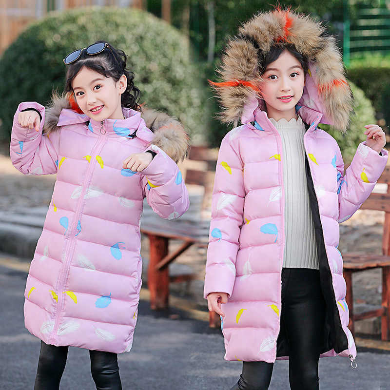 2019 New Children's Winter Jacket For Girls Kids Warm Cotton-padded Long Jacket Park Teenage Coat Hoodies Outerwear