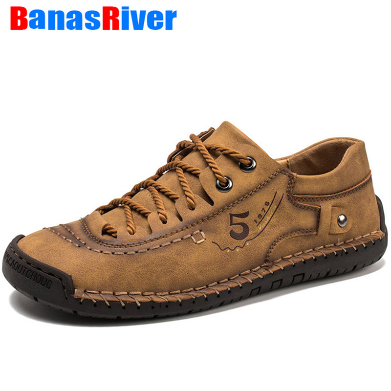 2020 Outdoor Spring Autumn Handmade Men Shoes Leather Fashion Casual Sneakers Loafers Flats Moccasins Driving Slip On Footwear