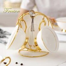 Чайная чашка из костяного фарфора с золотой инкрустацией блюдце