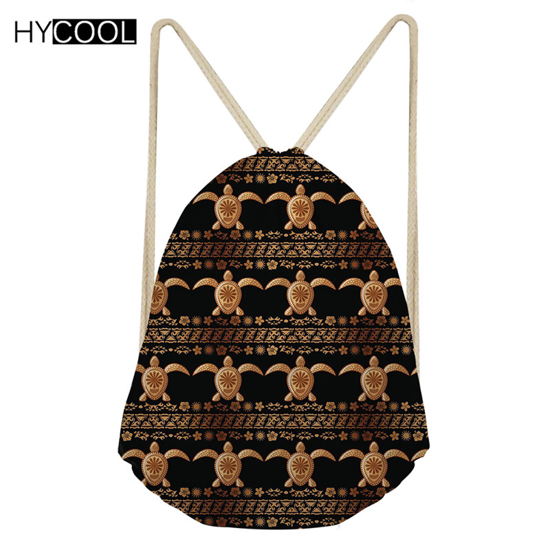 HYCOOL Small Drawstring Bag Hawaiian Style Boys Girls Sea Turtle Print Running Cycling Hiking Outdoor Sack 2019