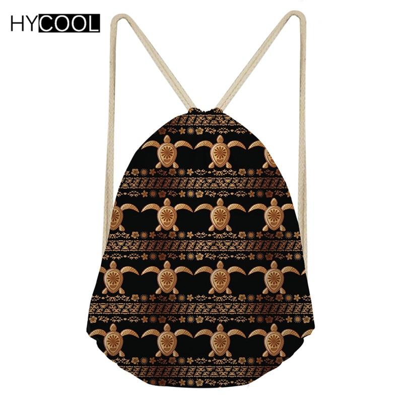HYCOOL Small Drawstring Bag Hawaiian Style Boys Girls Sea Turtle Print Running Cycling Hiking Outdoor Sack 2019