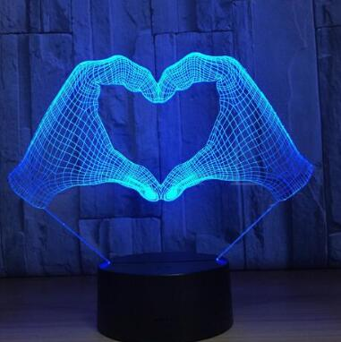 Middle Finger 3D Lamp Hand Skull Decor LED Night Light 7Color Change Bedside Nightlight Indoor Decoration Light Personality Gift