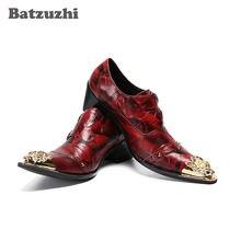 Batzuzhi/красные кожаные модельные туфли; Модная мужская обувь;