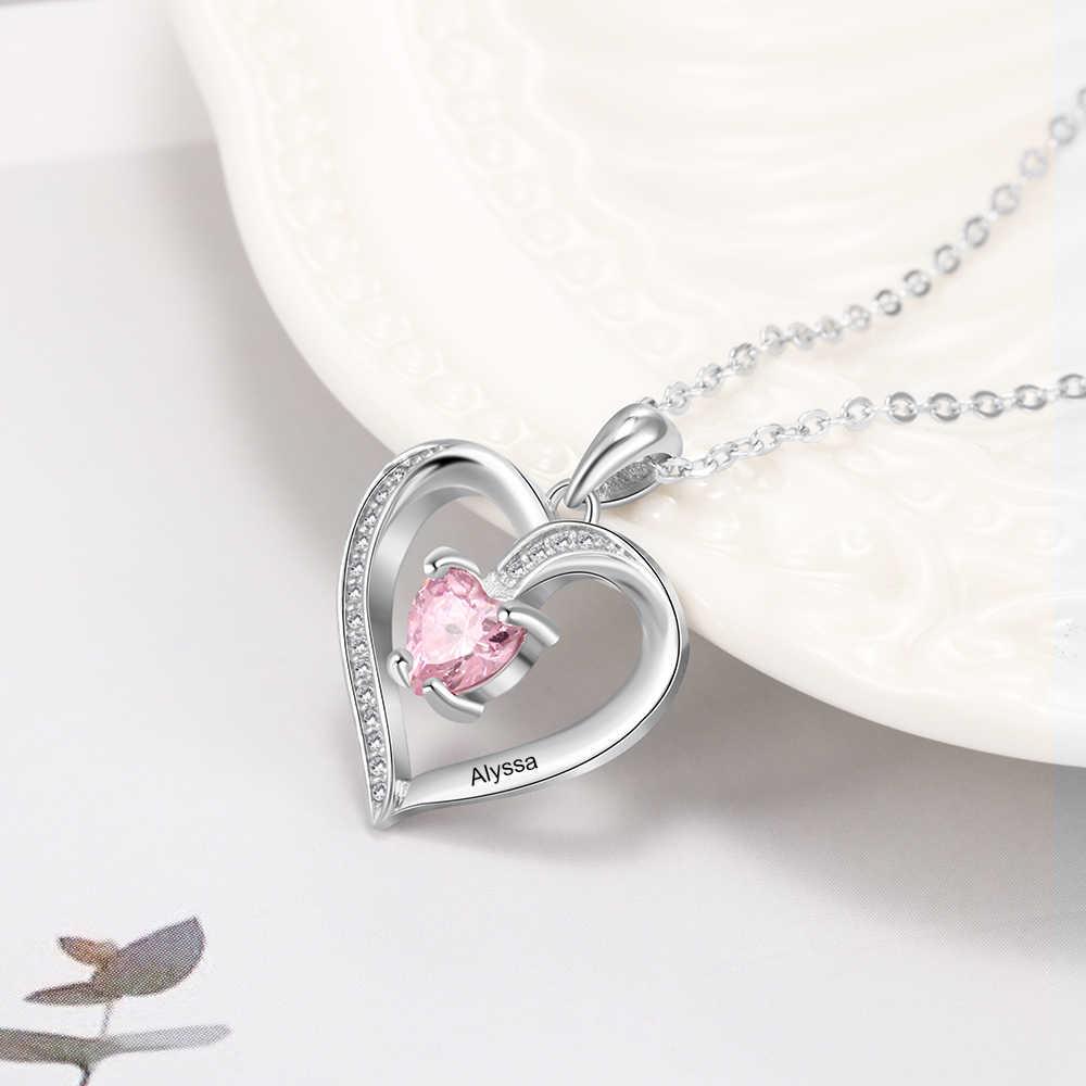 Personnaliser collier 925 bijoux en argent Sterling pendentif coeur nom personnalisé pierre de naissance mode promesse anniversaire cadeau pour les femmes