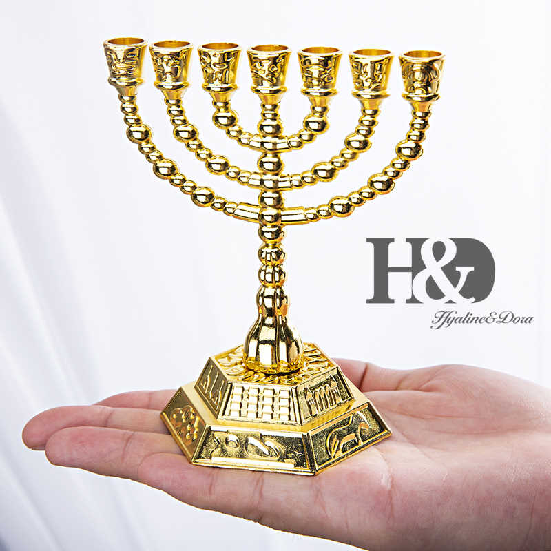 H & D 12 שבטים של ישראל חנוכייה ירושלים מקדש 7 סניף יהודית חנוכה דקורטיבי נר מקל מחזיקי זהב 4.3 אינץ