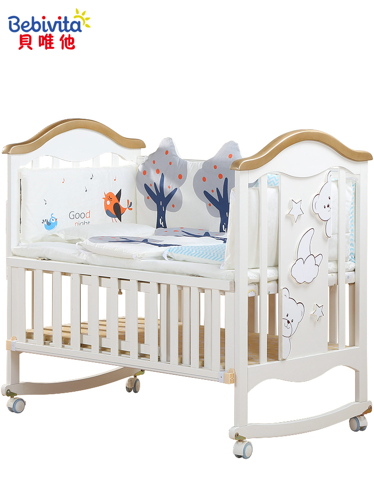 Wood Baby Bed Solid Wood European Multifunctional White Bb Cradle Neonatal Stitching