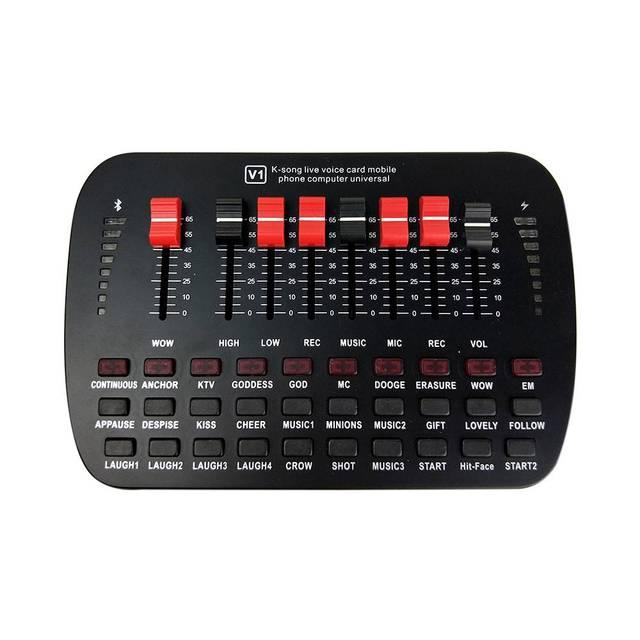 Bluetooth קריוקי קונסולת 20 אפקטים קוליים שידור KTV לחיות נפח מתכוונן חיצוני אודיו מיקסר כרטיס קול סטודיו