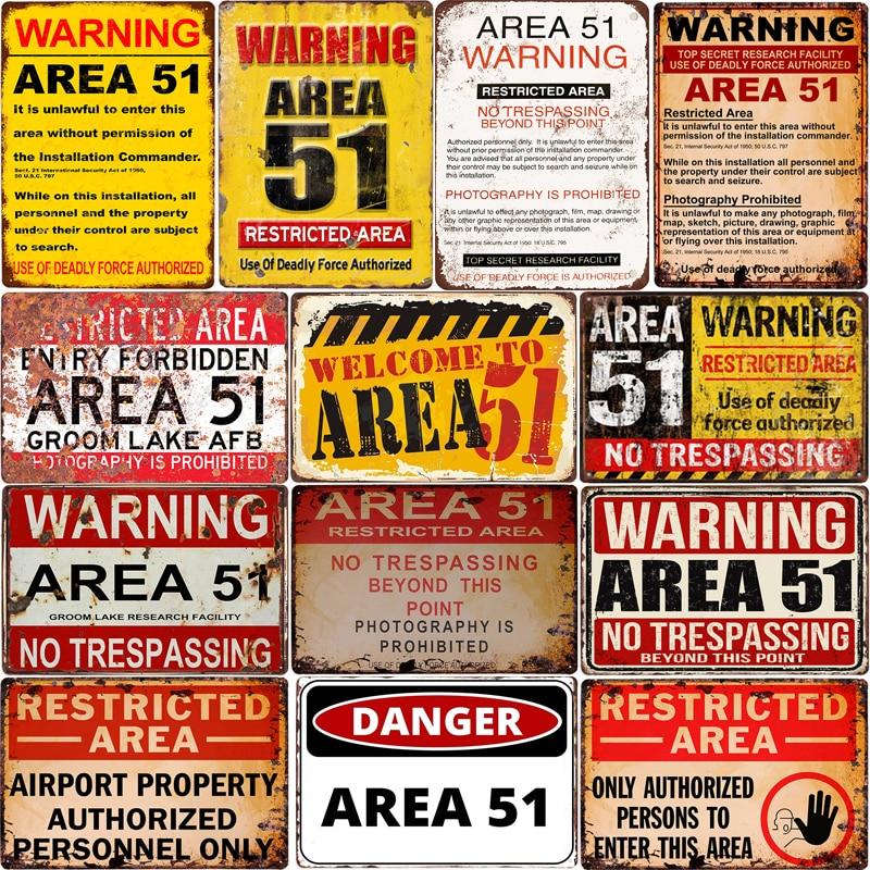 Carteles De Metal Vintage Area 51 Warning Bar Decor Vintage Metal Sign Wall Art for Garage Pub Cafe Wall Sticker 20*30 CM