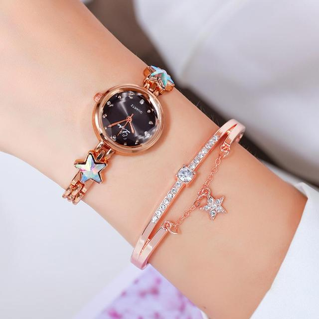 Lvpai Brand Luxury Bracelet Watches Set For Women Fashion Rhinestone Star Bracelet Watch Ladies Dress Watches New Zegarek Damski