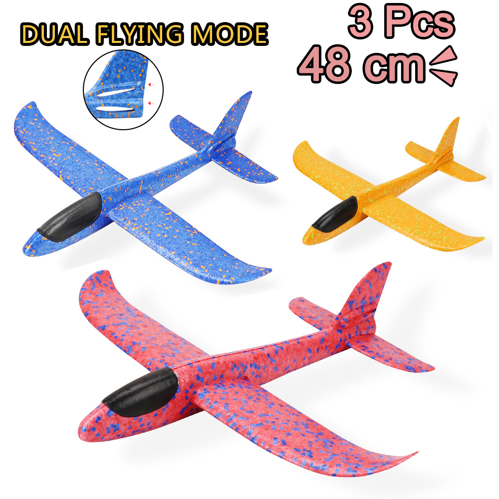 3 Pcs Aircraft Hand Throw Airplane Foam Launch Fly Glider Planes Model Outdoor Fun Party Game Toys For Children