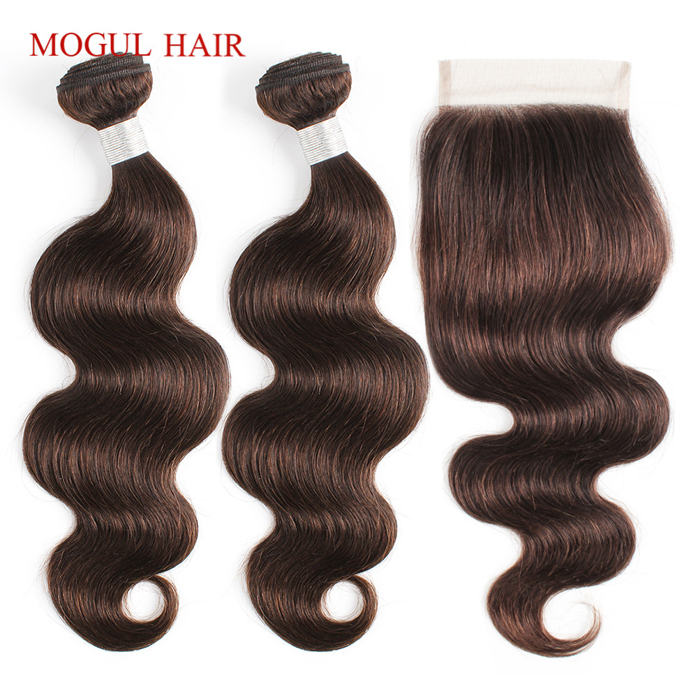 MOGUL HAIR Body Wave Bundles with Closure Color 2 Dark Brown 2/3 Bundle Brazilian Hair Pre-Colored Remy Human Hair Extension