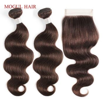 MOGUL HAIR Body Wave Bundles with Closure Color 2 Dark Brown 2/3 Bundle Brazilian Hair Pre-Colored Non-Remy Human Hair Extension
