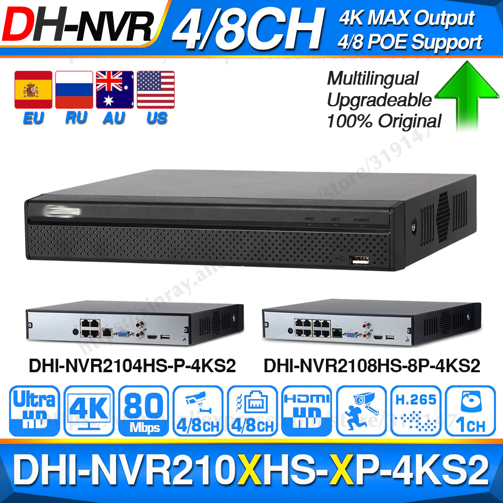 Dahua POE NVR 4k Recorder NVR2104HS-P-4KS2 Security 4CH Support 8CH HDD for Cctv-System