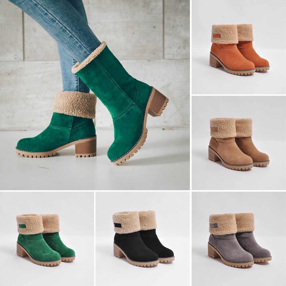 Frauen Schnee Stiefel Flache Spitze Up Winter Plus Größe Plattform Damen Warme Schuhe 2020 Neue Herde Pelz frauen Wildleder stiefeletten Weibliche