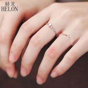Image 4 - Женское кольцо с натуральным бриллиантом HELON, кольцо для помолвки из розового золота 18 К с огранкой багета AU750 0,05ct SI/H, модные ювелирные украшения