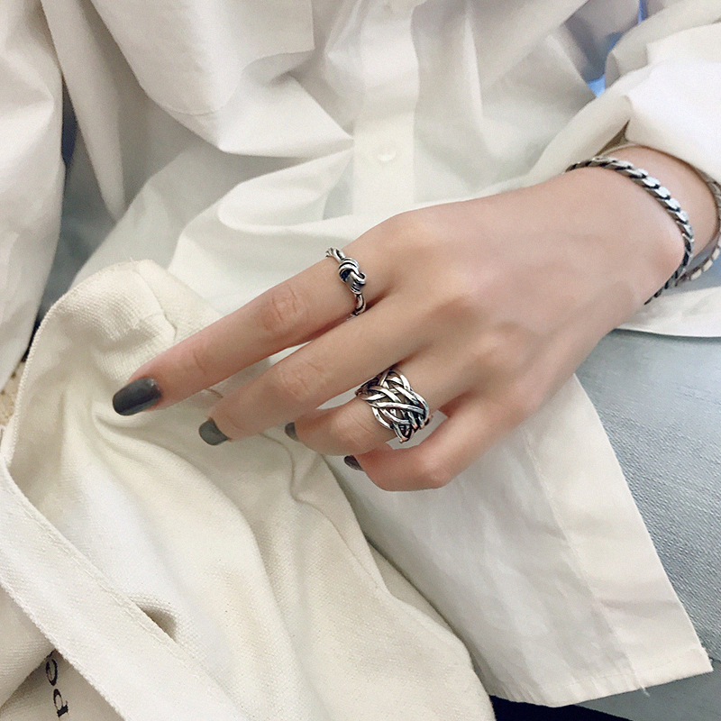 Silvology 925 Sterling Silver Weave Twine Wide Rings Temperament Industry Style High Quality Korea Rings For Women Retro Jewelry