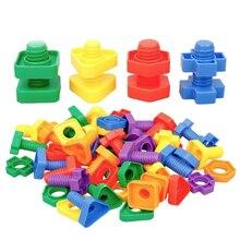 Toys Building-Blocks Screw Educational-Toys Kids Children Plastic for Nut-Shape Learning