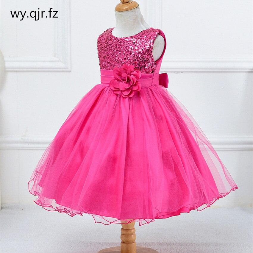 BH-L067#Ball Gown Green Rose Red Little Bridesmaid Costume Sequins Gauze Flower Girls' Dresses Children's Wear Short Wholesale