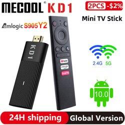 Оригинальный Mecool KD1 TV Stick Amlogic S905Y2 Смарт ТВ приставка Android 10, 2 Гб оперативной памяти, 16 Гб встроенной памяти, Google Сертифицированный 1080P 4K 2,4G & 5G ...