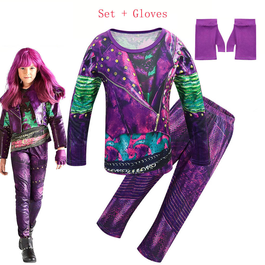 Kids Descendants 3 Costume For Girls Evie Cosplay Costume Children Long Sleeve Zentai Funny Party 3D T-shirt+pants Clothing Sets