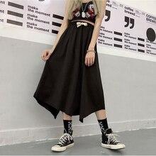 Асимметричная Длинная черная юбка-карго размера плюс на завязках с завышенной талией и неровным разрезом средней длины в Корейском стиле Харадзюку в винтажном стиле