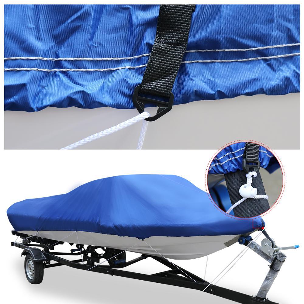 X AUTOHAUX 540/570/700x280/300 CM 210D couverture de bateau remorquable imperméable pêche Ski basse hors-bord v-shape bleu couverture de bateau - 2