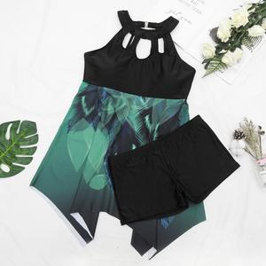 Image 5 - 2019 שתי חתיכה בתוספת גודל שחייה חליפת 5XL רופף בגד ים נשים ביקיני גבוה מותניים בגד ים Tankini מתרחץ לדחוף את בגדי ים שמלה