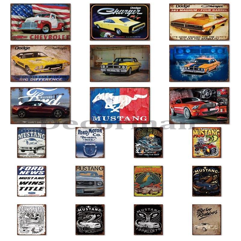 [Mike86] Американский Мустанг, автомобильный металлический знак, ретро настенная живопись, подарок, художественная LTA-1718 20*30 см