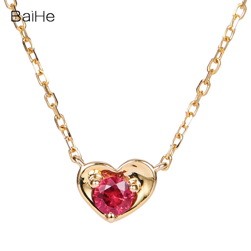 BAIHE Solid 18k Yellow Gold SI/H About 0.10ct 100% Natural Ruby Women Fine Jewelry Gift Beautiful heart-shaped ruby Necklace