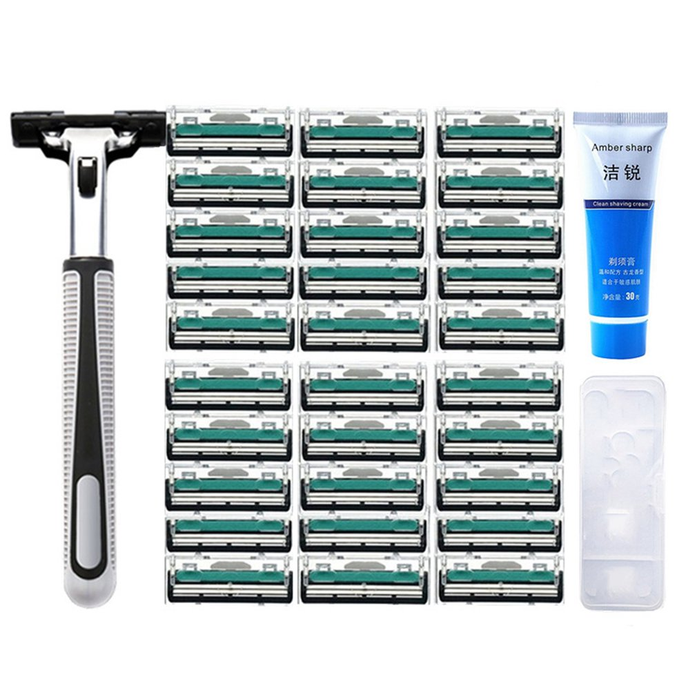 Ev Aletleri'ten Saç Kesme Makineleri'de Taşınabilir Boyutu erkekler jileti Erkek Kullanımı tıraş bıçağı Bıçakları Manuel Güvenlik Jilet Yüz Bakımı Sakal Traş Makineleri title=