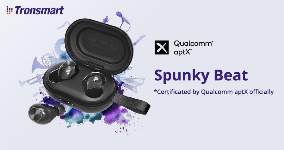 [Newest Version] Tronsmart Spunky Beat TWS Bluetooth Earphone QualcommChip Tech APTX Wireless Earbuds with CVC 8.0