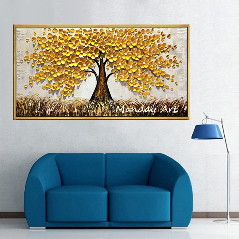 Golden Tree, Frameless - 24X48 Inches For Modern Home Decor Wall Art Acrylic Canvas Painting Hand-painted oil painting Golden Flowers Tree Luck Tree 3D Hand-Painted On Canvas Abstract Artwork Art