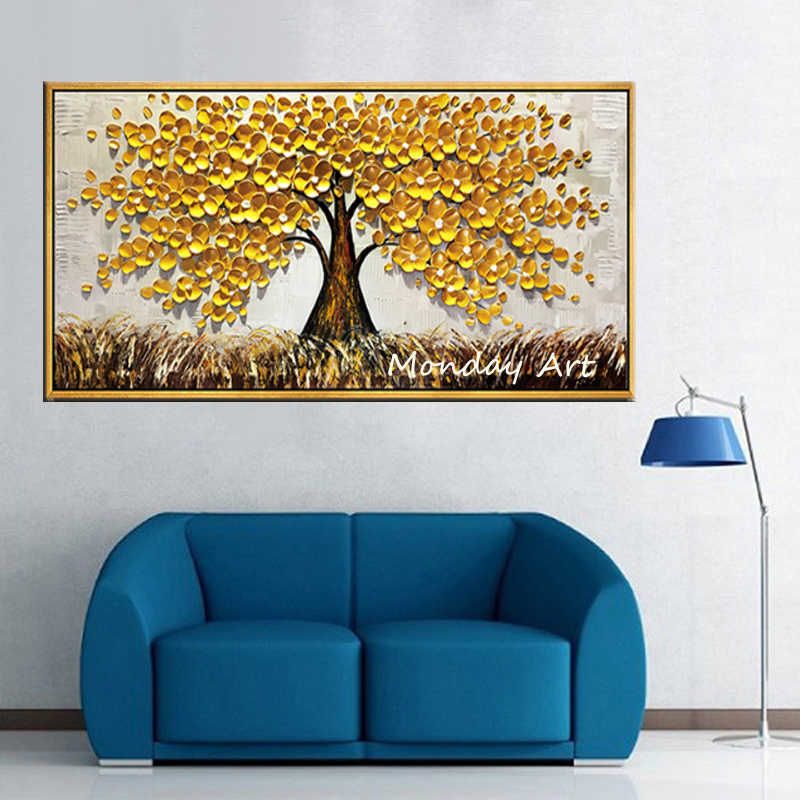 Gold Tree Hand Painted Oil Painting Canvas Wall Art Home Decor Framed 80*80