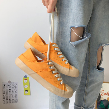 Canvas Shoes Summer 2020 New Fashion Breathable Casual Classic Canvas Sneakers Shoelace Comfortable Flat Solid Color Shoes