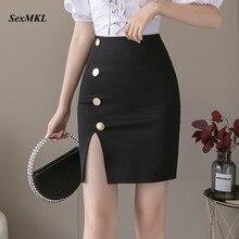 Skirts Plus-Size Office Korean-Button Bodycon Slim Sexy Mini High-Waist Fashion Women