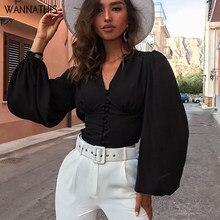 WannaThis-Blusa negra con manga larga para otoño, camisa Sexy con escote en V profundo, botones, farol, ajustada, elegante, 2019