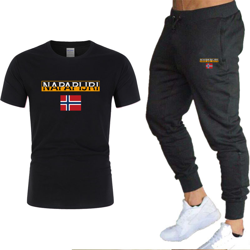 2020 Men's T-shirt And Pants Sets Two Piece Sets Southern Snake Print Casual Tracksuit Sports Suits Fitness Pants