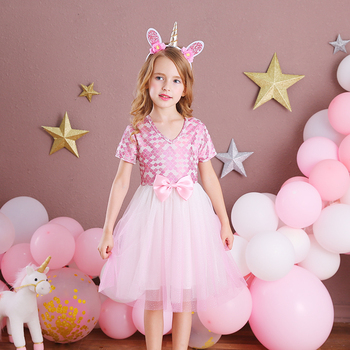 VIKITA Girls Dress Elegant Children Party Princess Dress Wedding Birthday Party Prom Vestidos Wear Kids Bow Dresses for Girls 2017new china traditional red color girls children princess dress embroidery lace wedding birthday party ceremony dress for kids
