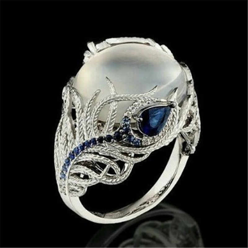 Stone Blue Crytal Finger Rings Peacock feather Rings For Women Crystal Middle Ring Fashion Jewelry Dropshipping