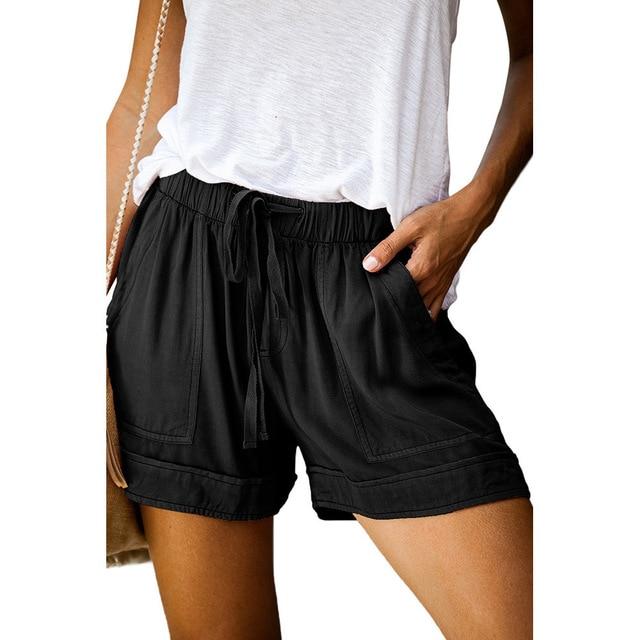 12 Colors Casual Women Short Pants Simple Drawstring Pockets Summer Elastic Waist Loose Home Fashion Streetwear Ladies Pant 3
