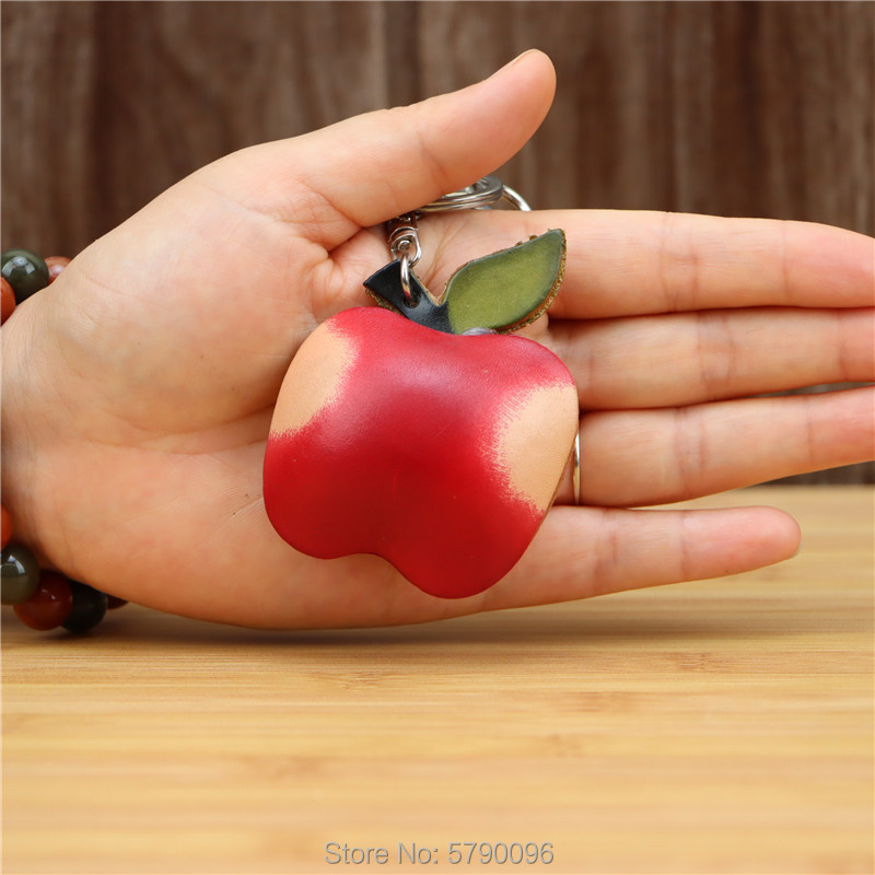 Genuine leather handmade creative red apple keychain bag pendant mini cute fruit cowhide bag accessories gift