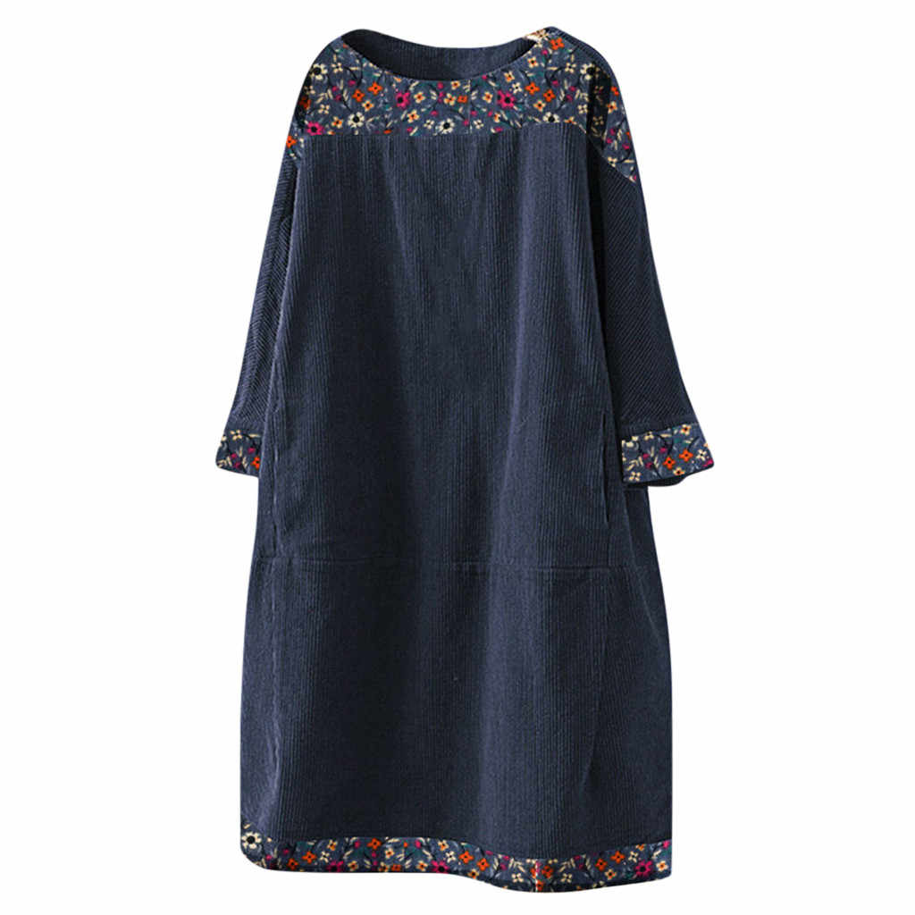Femmes Vintage velours côtelé imprimé ethnique Patchwork à manches longues poches robe ample été robes courtes grande taille *
