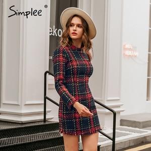Image 5 - Simplee Elegante plaid tweed frauen büro kleid Winter herbst langarm warme rot kleider Vintage sexy vestidos kleider festa