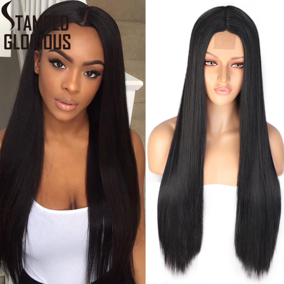 Stamped Glorious Long Straight Black Wig Synthetic Brown Lace Wigs For Women Natural Middle Part Wig Heat Resistant Fiber