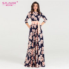 S.FLAVOR Women printing Autumn Winter dress Elegant O-neck loose long party dress for female Hot sale women vestidos No pockets(China)