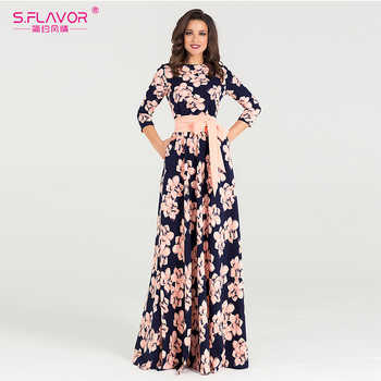 S.FLAVOR Women printing Autumn Winter dress Elegant O-neck loose long party dress for female Hot sale women vestidos No pockets - DISCOUNT ITEM  47% OFF All Category