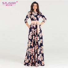 فستان نسائي طويل من S.FLAVOR مطبوع للخريف فستان حفلات طويل فضفاض بياقة دائرية للنساء عرض ساخن فساتين نسائية بدون جيوب