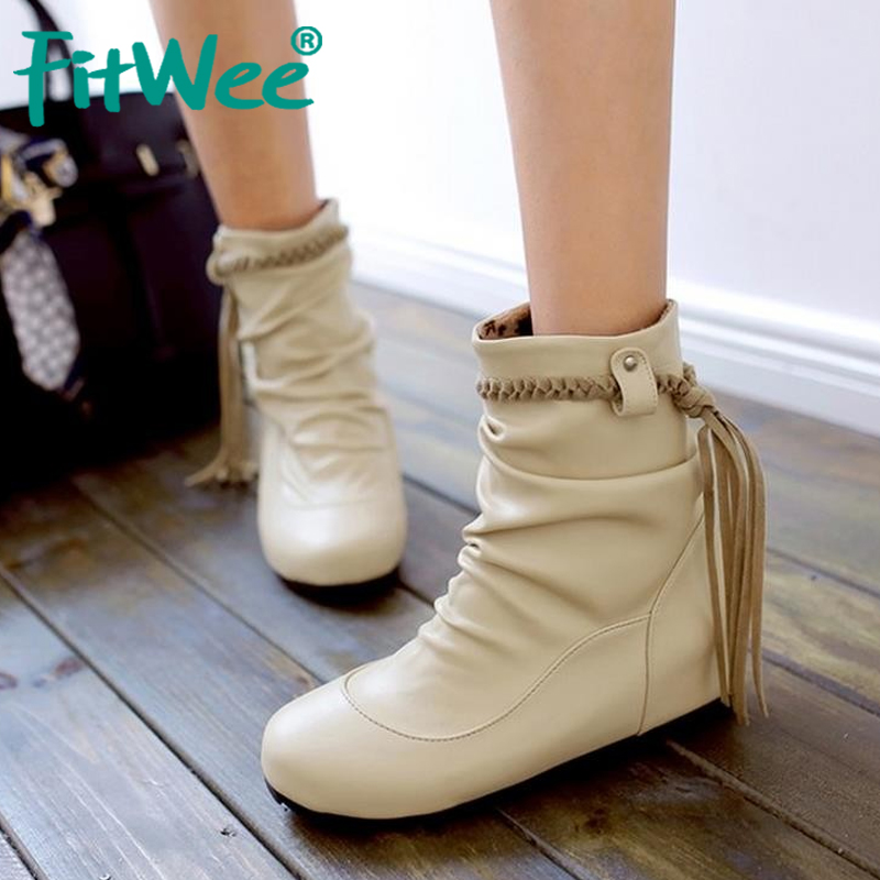 Women Boots Shoes Tassels Height Ladies Feminina Fashion Mujer Mid Increasing Zapatos